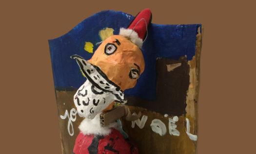 père Noël de papier maché cours d'arts plastiques Oscar 9 ans